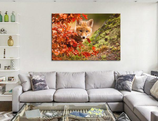 Fox Peeking through Leaves Cheap Print