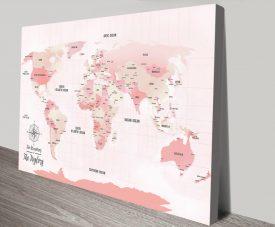 Pink Shades World Travel Map Canvas Print