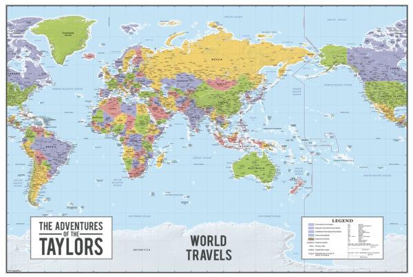 Custom World map australia centric canvas