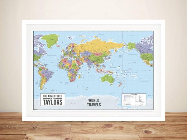 World map australia centric Framed Wall Art Canvas