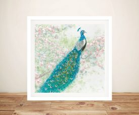 Spring Peacock l Pink Flowers - James Wiens Wall Prints