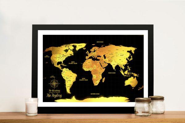 Black & Gold Push Pin Personalised Travel Map Canvas Prints