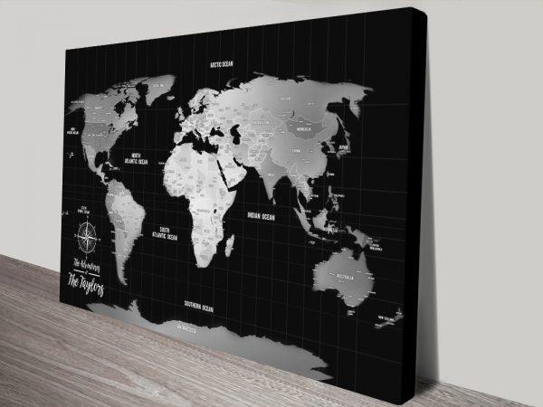 Pins Silver World Travel Map Canvas print