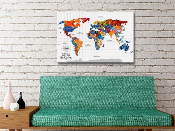 pop art push pin travel map