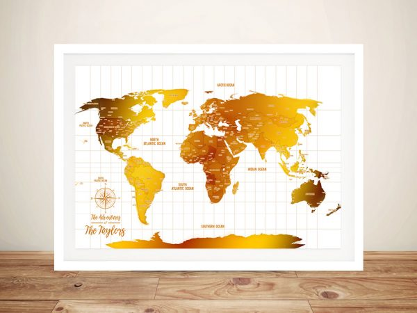 White & Gold Push Pin Map Personalised Travel Map Wall Pictures