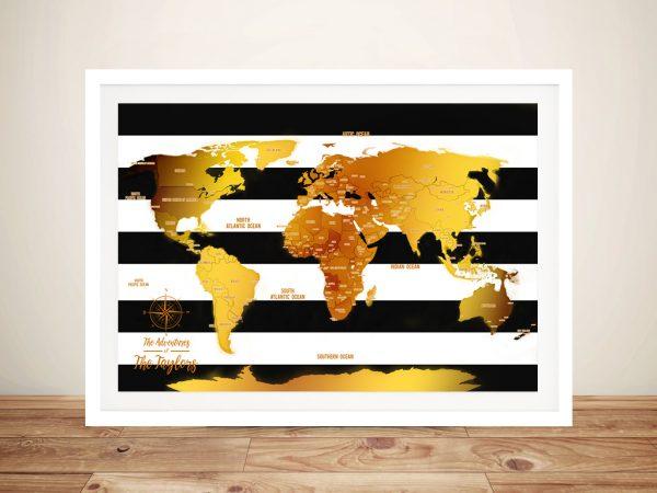 White Stripes & Gold Push Pin Travel Map Wall Art