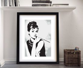 Audrey Hepburn Grey Pop Art Framed Picture Australia