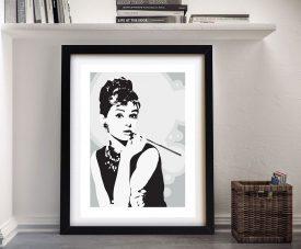Audrey Hepburn Grey Framed Pop Art Print