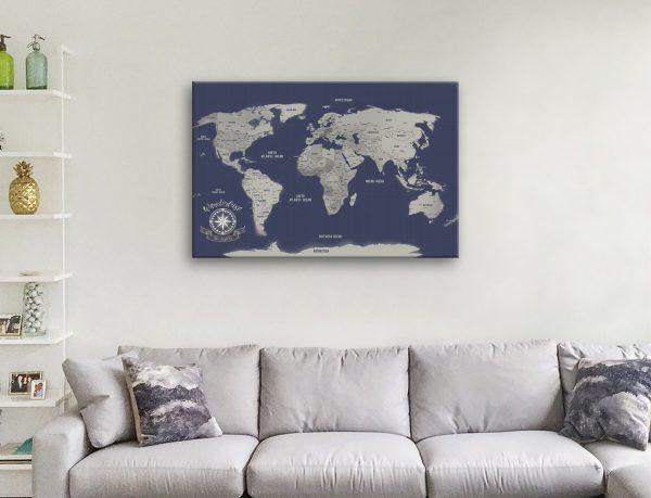 Navy Blue Silver Custom Travel Map canvas wall art