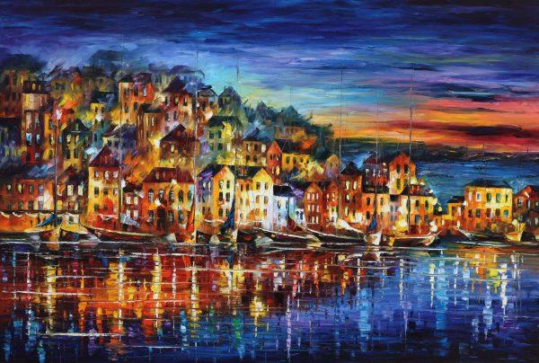 Quiet Town Leonid Afremov Artwork