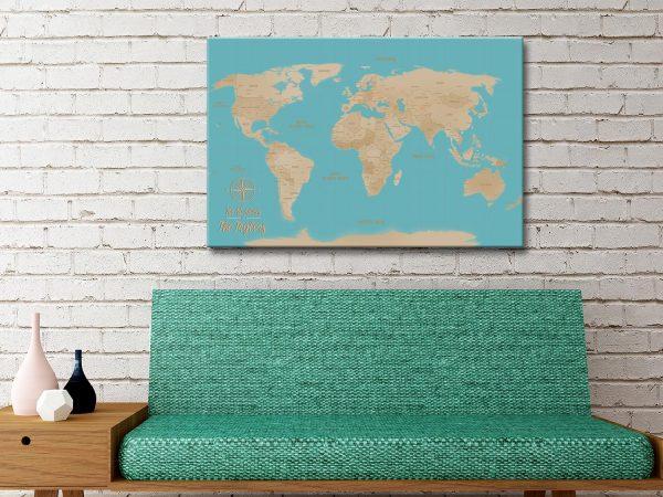 Yellow And Blue Custom World Map Canvas Artwork Au