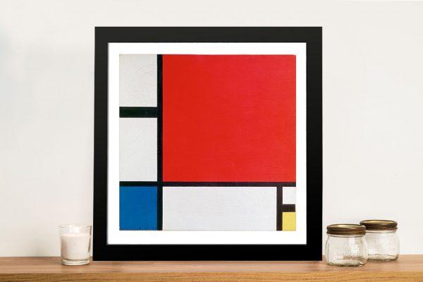 Red Blue and Yellow Piet Mondrian Framed Wall Art
