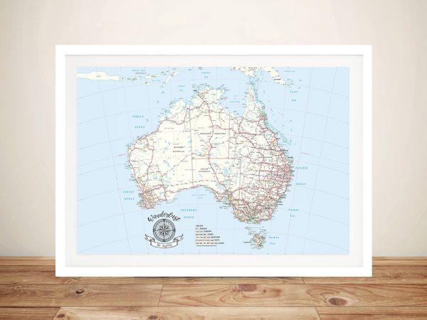 Australia Atlas Light Blue Pin Map Wall Art Print with Push Pins