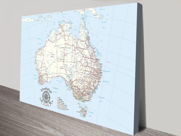Australia Atlas Light Blue Pin Map Gift with Push Pins
