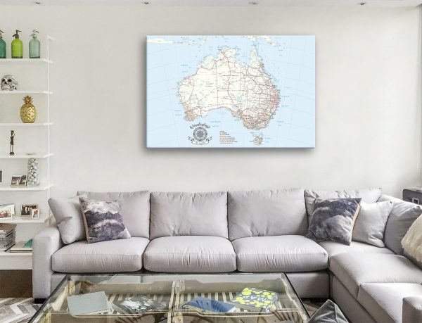 Personalized Australia Light Blue Pin Map Gift with Push Pins