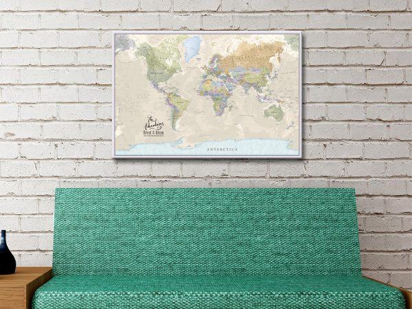 Pushpin World Map Canvas Artwork