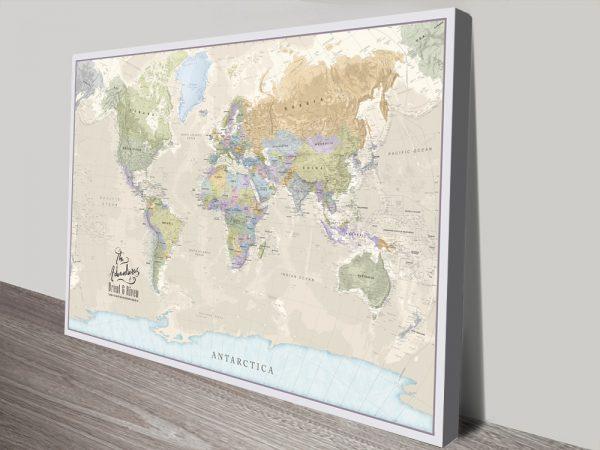 Pathfinder Custom Push Pinboard World Map canvas print