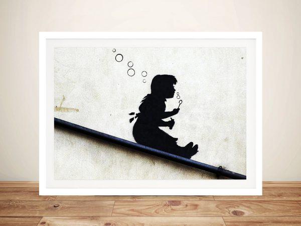 Banksy Bubble Girl Framed Street Art