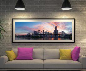 Brisbane Bridge Panoramic Framed Wall Art