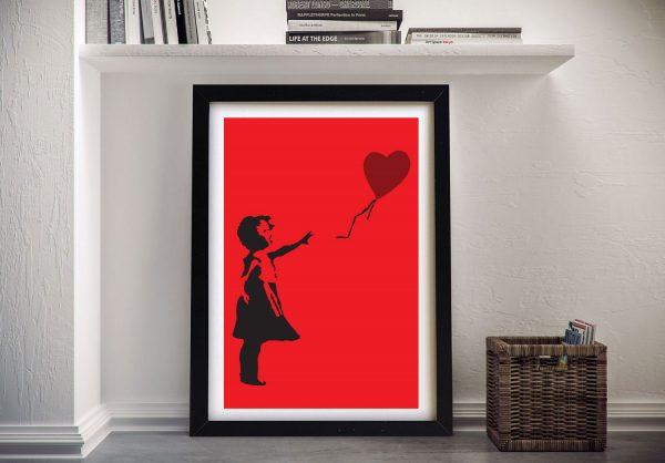 Banksy Balloon Girl Red Framed Wall Art