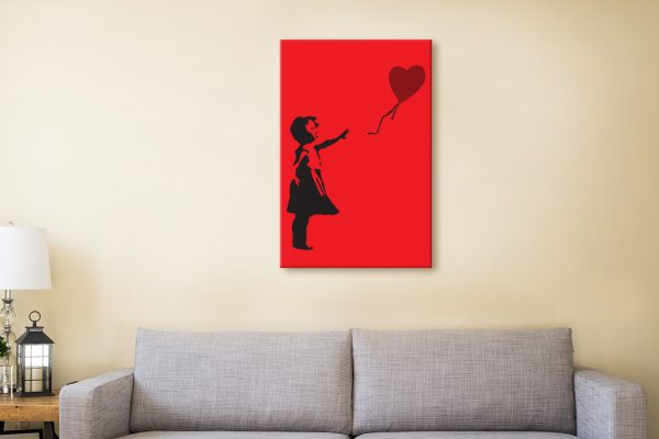 Balloon Girl In Red Street Art Canvas Prints AU