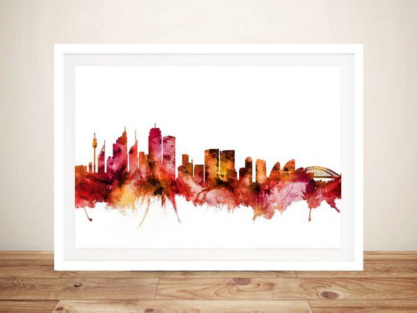 Watercolour Framed Art of Sydney's Skyline