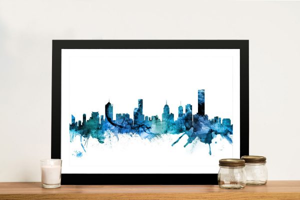 Melbourne Skyline Watercolour Wall Art
