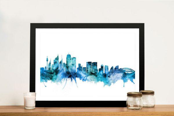 Buy Sydney Watercolour Skyline Canvas Print