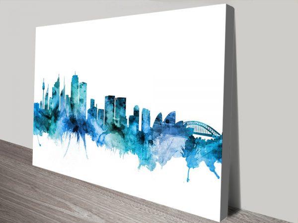 Buy Sydney Skyline in Blue Wall Art Online