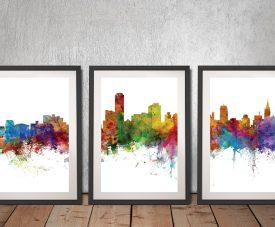 Buy Adelaide Skyline Triptych Framed Art