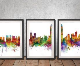 Hong Kong Skyline Print by Michael Tompsett