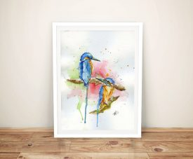 Buy A Watercolour Print of Two Kingfishers