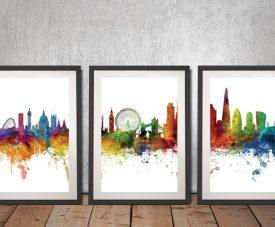 London Watercolour Skyline Framed Print