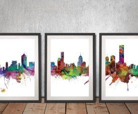 Buy A Melbourne Skyline 3-Panel Framed Print