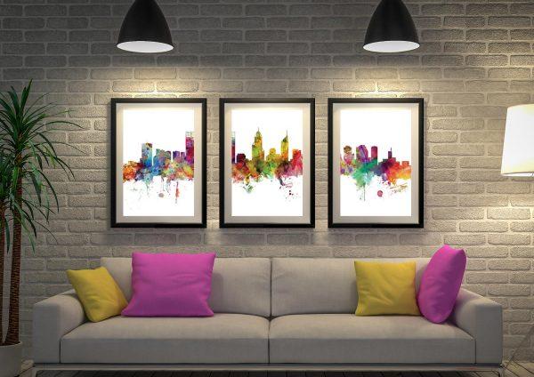 Buy Perth Skyline 3-Panel Wall Art Online