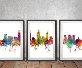 Perth Skyline Triptych by Michael Tompsett