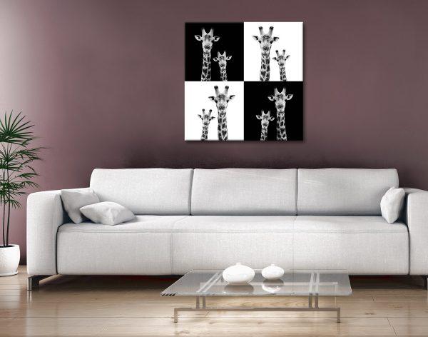 Buy Two Giraffes Safari Cheap Canvas Wall Art