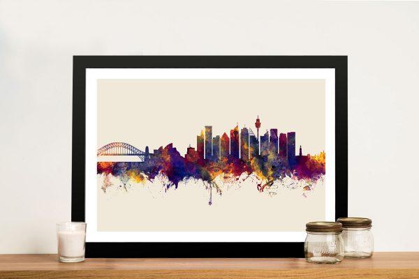 Buy Sydney Skyline Autumnal Cream Framed Wall Art