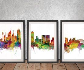 Sydney Skyline Triptych Framed Wall Art