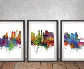 Tokyo Watercolour Triptych Skyline Artwork