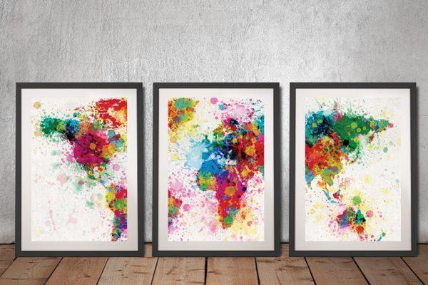 World Map Paint Splash Framed Triptych Prints