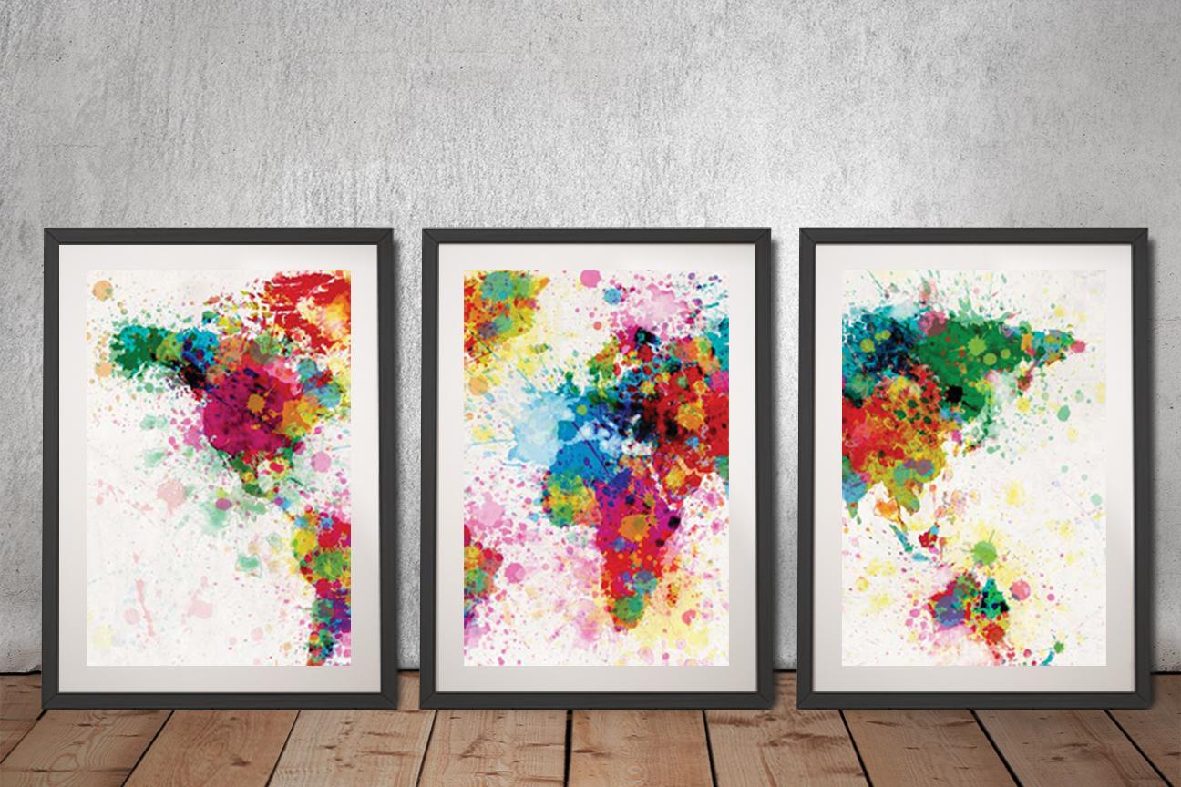 Buy World Map Paint Splash Framed Triptych Prints Highgate Perth Au