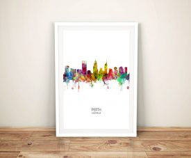 Perth Watercolour Skyline Multicolour Art