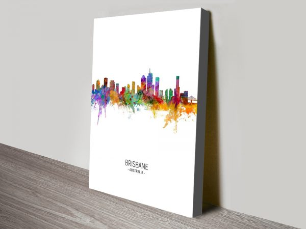 Buy Brisbane Skyline Multicolour Canvas Art