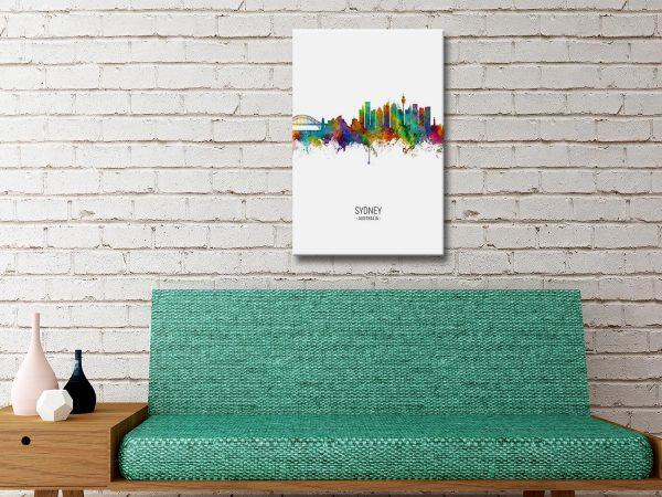 Sydney Skyline Colourful Wall Art Prints Online
