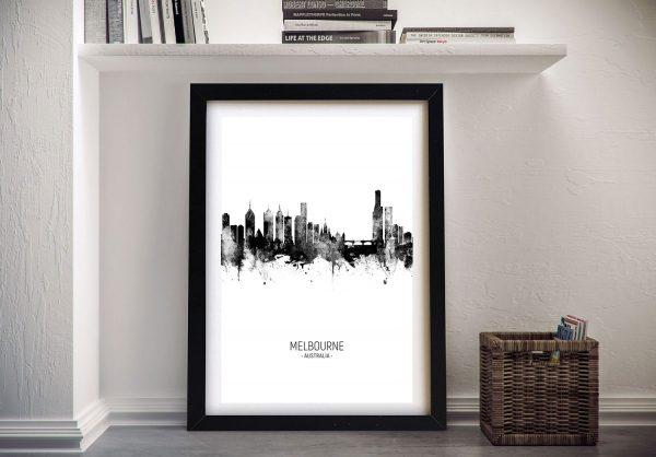 Buy Melbourne Skyline Wall Art in Black & White