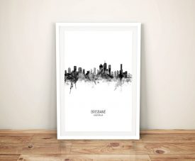 Buy Black & White Brisbane Skyline Print