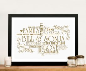Personalised Golden Wedding 50th Anniversary Framed Gift