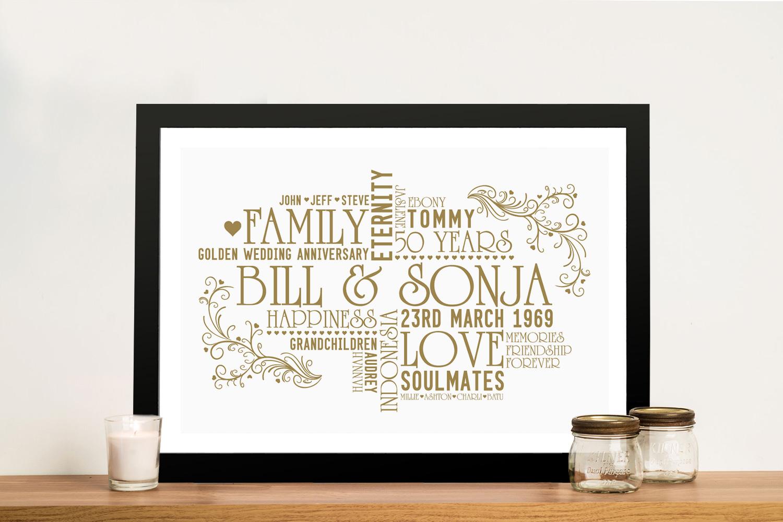 Personalised Golden Wedding 50th Anniversary Canvas Word Art Australia
