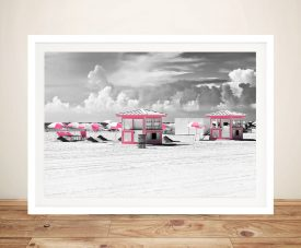 Buy Pink Beach Houses Framed Canvas Art